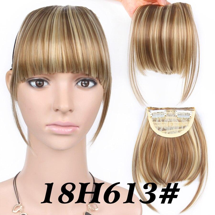 Alileader короткие передние аккуратные челки поддельные бахрома клип в наращивание волос с высокой температурой синтетическое волокно черный коричневый блонд - Цвет: 18H613