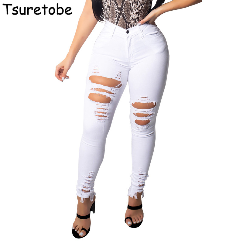 Tsuretobe Fashion Skinny White Jeans Pants Women Casual Mid Waist Hole Denim Ladies Stretch Slim Pencil Denim Pants Female