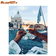 RUOPOTY frame Toasting a glass at sunset DIY painting by numbers modern home wall art picture acrylic paint on canvas artworks(China)