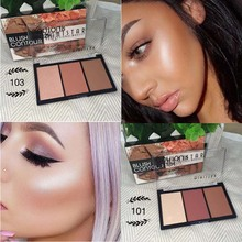 3 Colors Matte Shimmer Blusher Professional Blush Bronzer Face Contour Powder Blush Palette Highlighter Makeup Glitter SG61 miss rose brand matte blush palette peach cheek shimmer bronzer singel blusher on contour cosmetics 12 colors face makeup powder