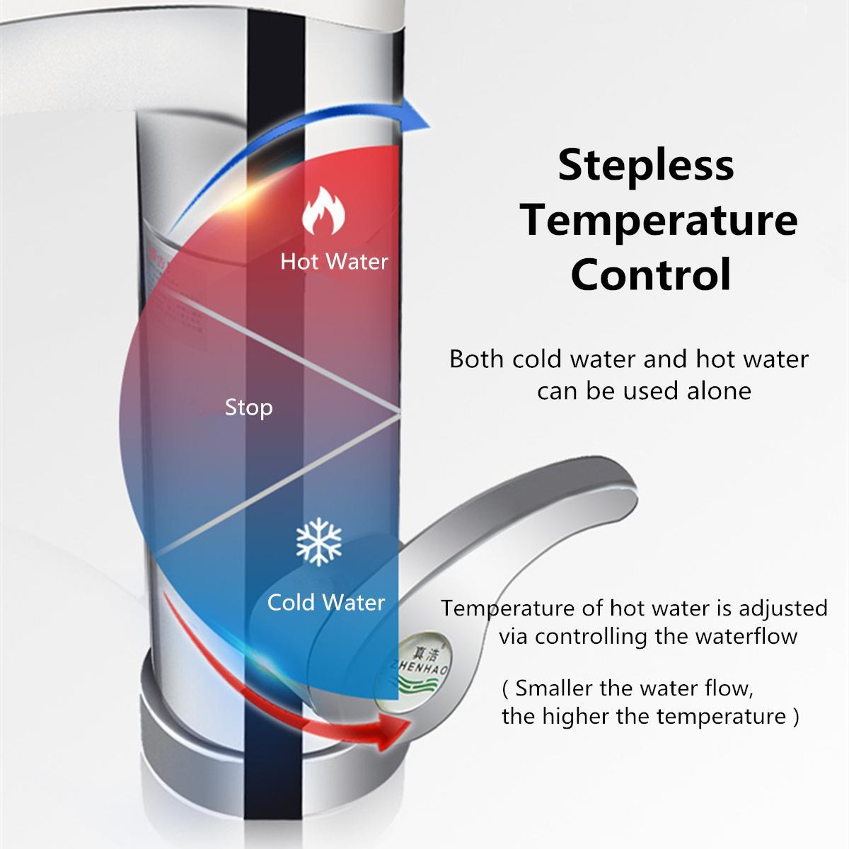 500 3500W gran pantalla táctil calentador de agua eléctrico grifo giratorio de agua grifo instantáneo caliente y frío para baño cocina - 6