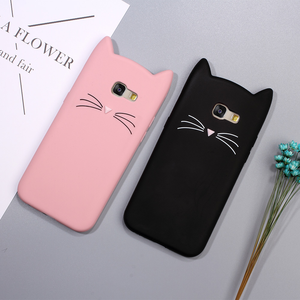brand new b4441 fdc1c US $2.86 |Dulcii Case for Samsung Galaxy A3 2017 Lovely 3D Moustache Cat  Soft Silicone Cover for Samsung Galaxy A3 (2017) A320F Capas Cute-in ...