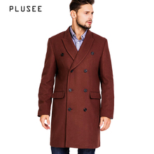 Plusee long wool coat men double breasted wool coat male 2017 spring turn down collar wine red long wool coat men overcoat M-XXL(China)