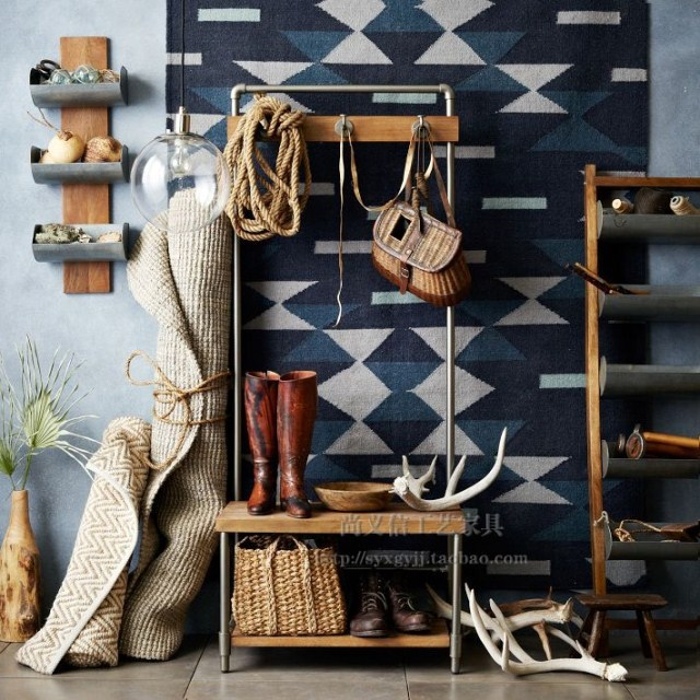 Grifo American Vintage piso percha de ropa perchero de madera ...