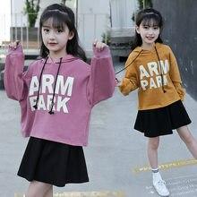 61d2d459115b4 Комплект одежды для девочек 5, 6, 7, 8, 9, 10, 11, 12 лет, комплект одежды  для маленьких девочек, осенний свитер с капюшоном и д.