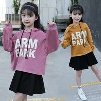 Girls Clothing Set 5 6 7 8 9 10 11 12 Years Toddler Girl Clothes Set Autumn Long Sleeve Hooded Sweatshirt + Skirt 2pcs Tracksuit