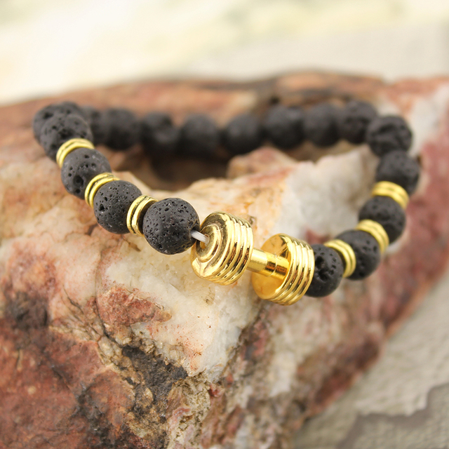 2017 pulseira masculina Nature Stone Yoga Energy Beaded Charm Bracelet Gold Dumbbell Fashion Jewelry Accessories for Women Men