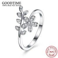 Czysta 925 Srebrny Musujące Liści Flower Rings dla Kobiet Wyczyść AAA Cyrkon Palec Pierścień Romantyczny Słodkie Dziewczyny Rocznica Biżuteria