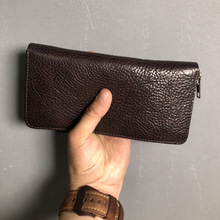 Handmade Vintage Soft Genuine Leather Wallet Men Purse long style Clutch Bag Male purse Money Clips