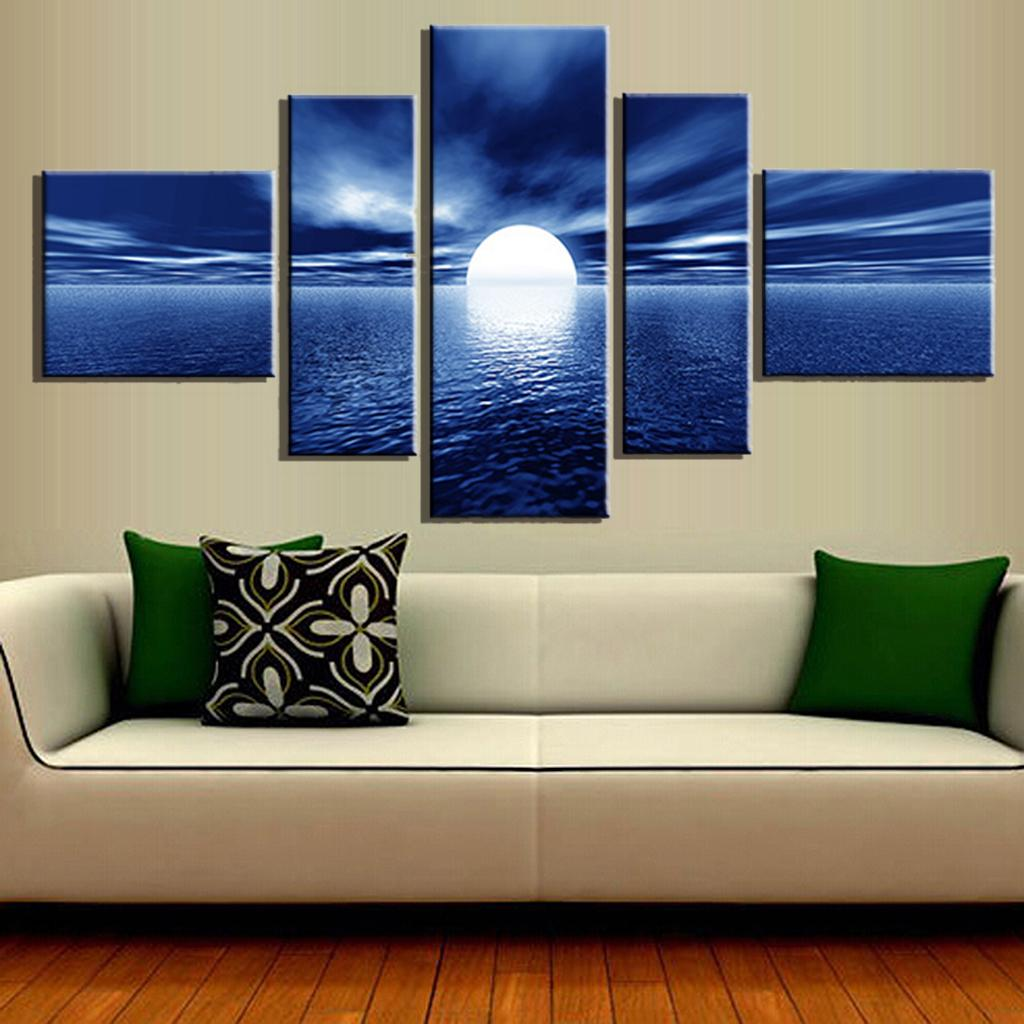 canvas paintings for sale. 5 Pcs/Set Hot Sales Canvas Wall Art Picture Paintings Sunset Blue Sea Combined Modern Unframed Painting,-in Painting \u0026 Calligraphy From Home Garden For Sale A