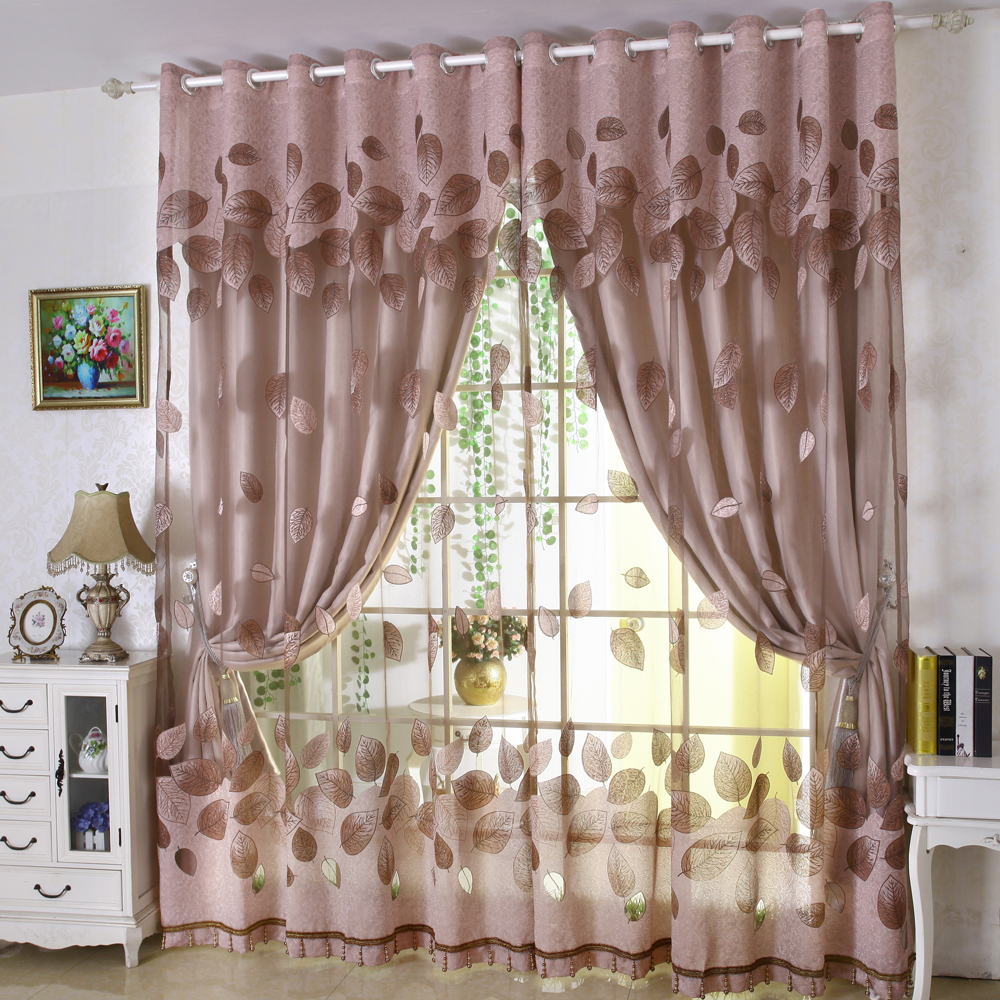 Luxury Modern Leaves Designer Curtain Tulle Window Sheer Curtain Set For Living Room Bedroom (1 PC Curtain And 1 PC Tulle)