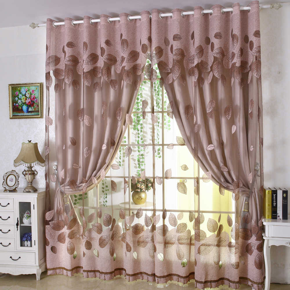 Luxury Modern Leaves Designer Curtain Tulle Window Sheer Curtain
