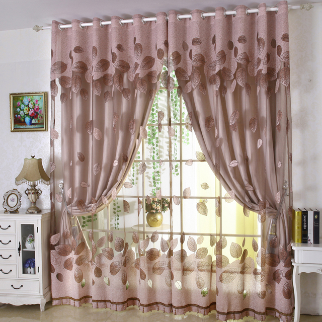 Luxury Modern Leaves Designer Curtain Tulle Window Sheer Curtain Set For Living  Room Bedroom (1