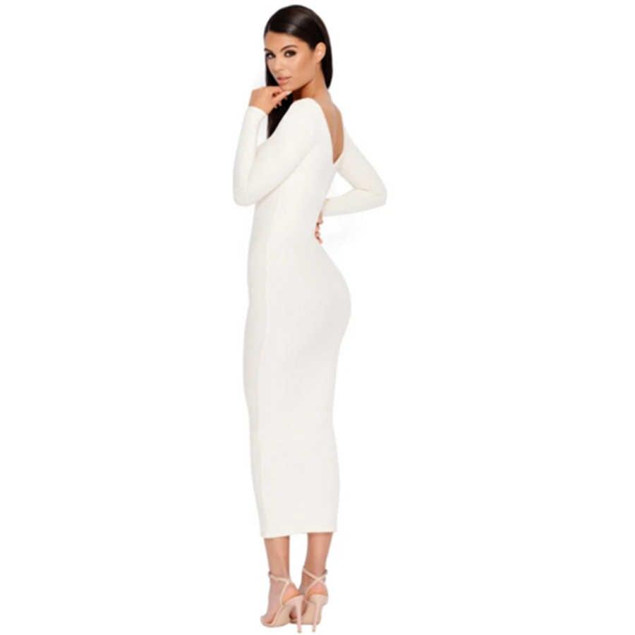 3f45fe4cf39 ... Colysmo Long Sleeve Winter Dress White Bodycon Dress Women Elegant Long Dress  Midi Sexy Club Wear ...