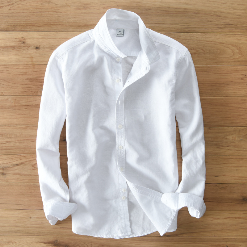 0acf9cf07689b 2017 sumner Men s 100% linen shirts long sleeve casual shirt solid Thin  section slim fit clothing Male White Color dress