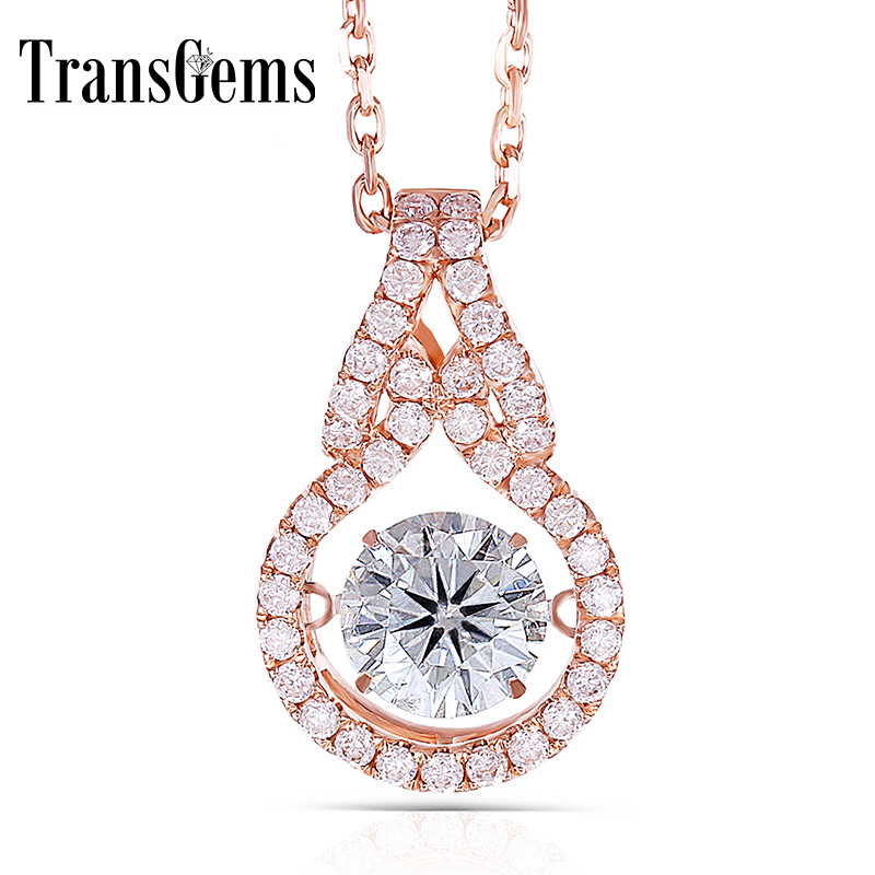 Transgems Moissanite Gold Pendant Solid 14K 585 Rose Gold Center 1ct 6.5mm F Color Moissanite Floating Setting Pendant For Women