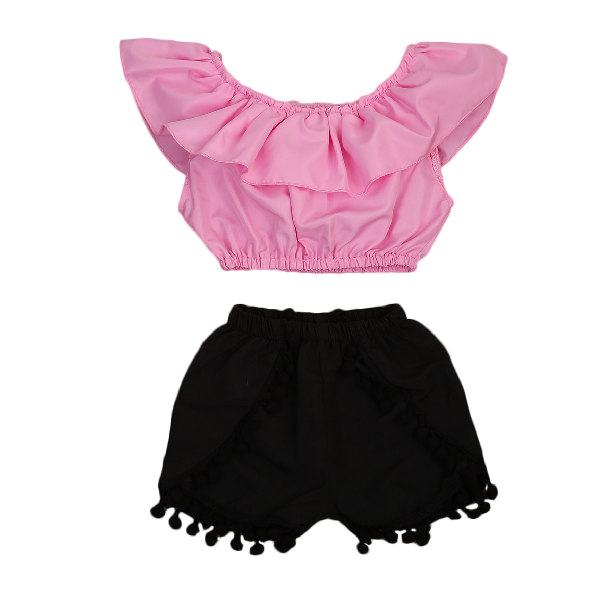Pudcoco Kids Toddler Baby Girl Clothes Summer Off Shoulder Ruffle Crop Top Tank+Short Pants Outfit Summer Tassel Two Piece Set summer casual denim newborn toddler baby girl clothing kids off shoulder crop tops shorts outfit clothes set