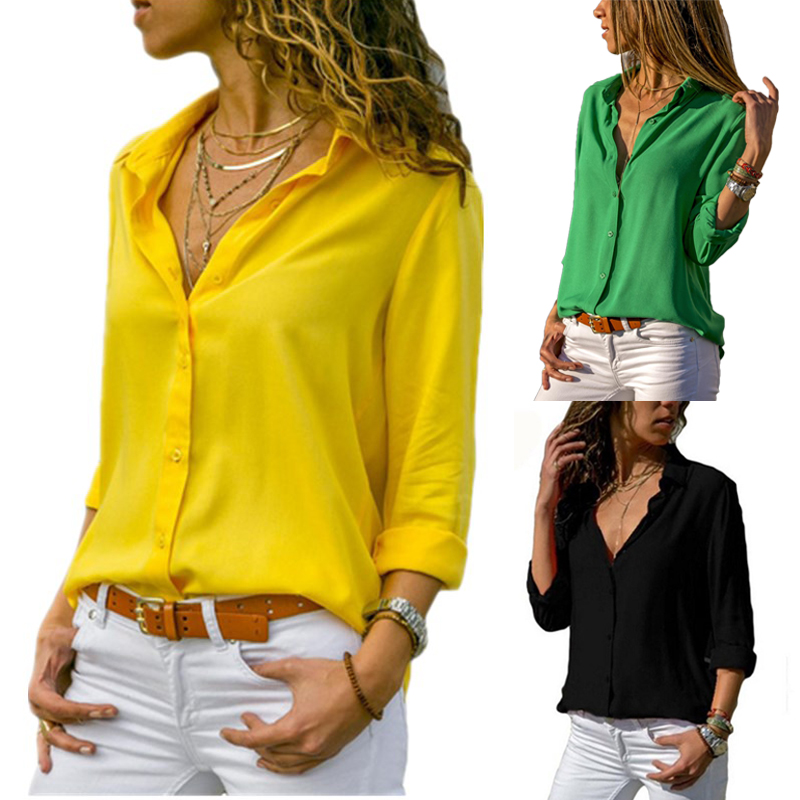 Fashion Long Sleeve Plus Size Shirts For Women Tops And Yellow Blouses Female Summer 2019 Sexy Red Black White Chiffon Tunic 3xl