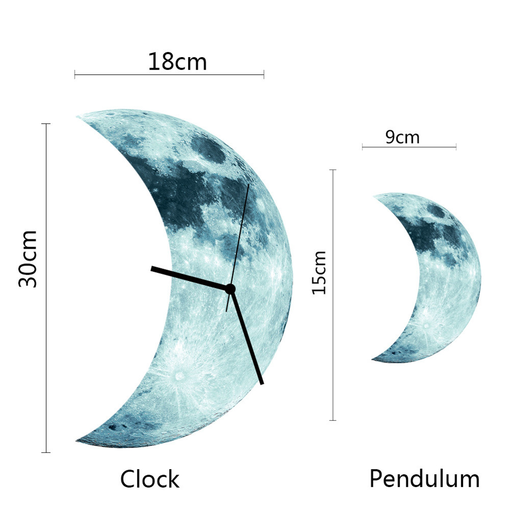 Night Luminous Wall Clock Half Moon Styled Decorative Clock For Home Bedroom XH8Z