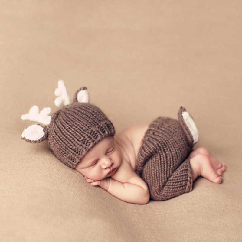 Newborn Xmas Festival Photography Props Deer Elk Design Baby Infant Knitted Costumes Hat Pants 2pcs Set Baby Photo Accessories