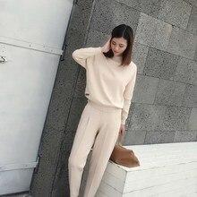 2018 Winter Cotton Two Piece Cashmere Suit Women Fashion Thick Knit Sweatshirts Tracksuit 2Pcs Pant