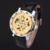 Nuevo ganador mecánico caliente marca hombres mano viento esqueleto relojes hombre vestido de moda del estilo del reloj color azul del oro negro banda de cuero
