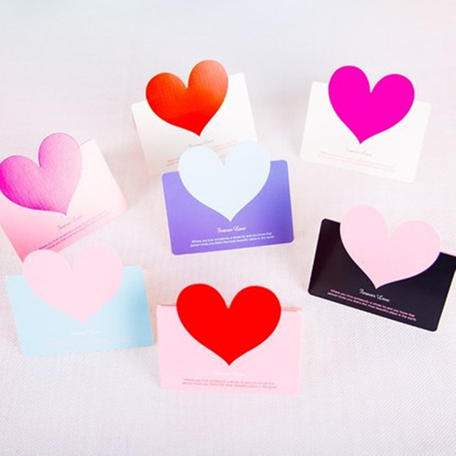 15Pcs Wholesale Letters Printed Heart Folding Children Memory Post Card Greeting Gift Cards Christmas Party Inviting Postcards