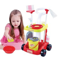 Cross border children play house toy simulation cleaning cart set girls sweep the floor cleaning role play no box