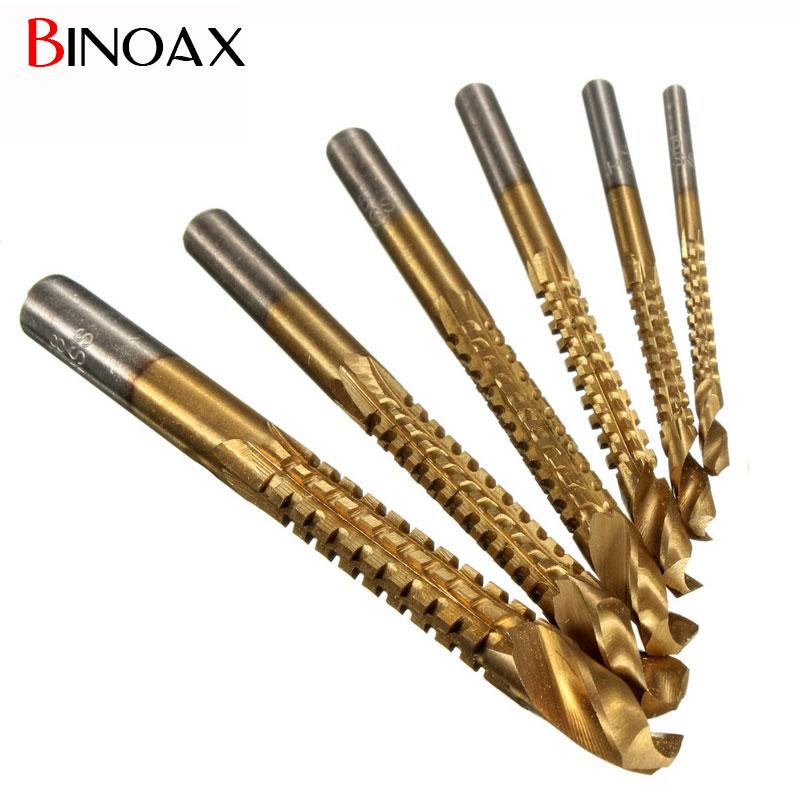 Binoax 6Pcs Min Titanium Coated HSS High Speed Steel Drill Bit Set Tool Woodworking #ND00050# 13pcs set hss high speed steel twist drill bit for metal titanium coated drill 1 4 hex shank 1 5 6 5mm power tools par ad1038