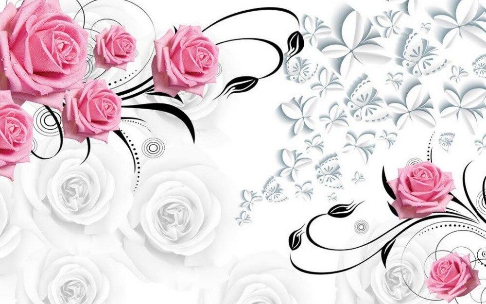 Pink rose 3d wallpaper bunga Wallpaper untuk ruang tamu 3d wallpaper modern untuk ruang tamu mural