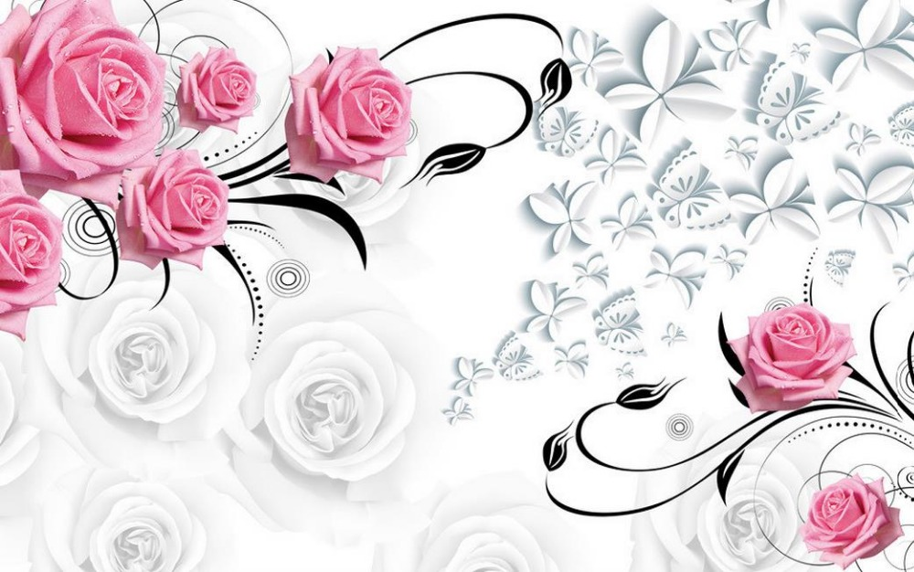 Pink rose 3d wallpaper flower wallpapers for living room for Pink 3d wallpaper
