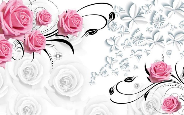 Aliexpress.com : Buy Pink rose 3d wallpaper flower