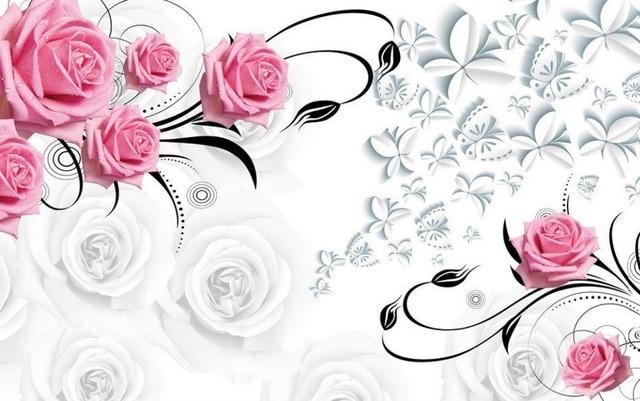 Aliexpress.com : Buy Pink rose 3d wallpaper flower