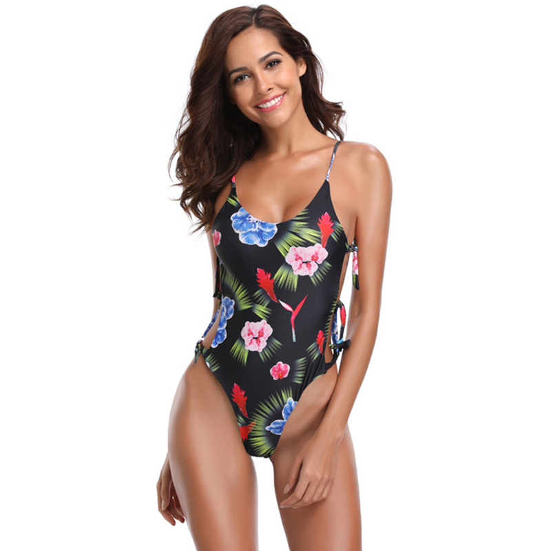 Swimsuit One Piece Swimwear 2019 Mujer Sexy Swimsuit Women Print Push Up Monokini Bathing Suits Beachwear Maillot de Bain Femme in Body Suits from Sports Entertainment