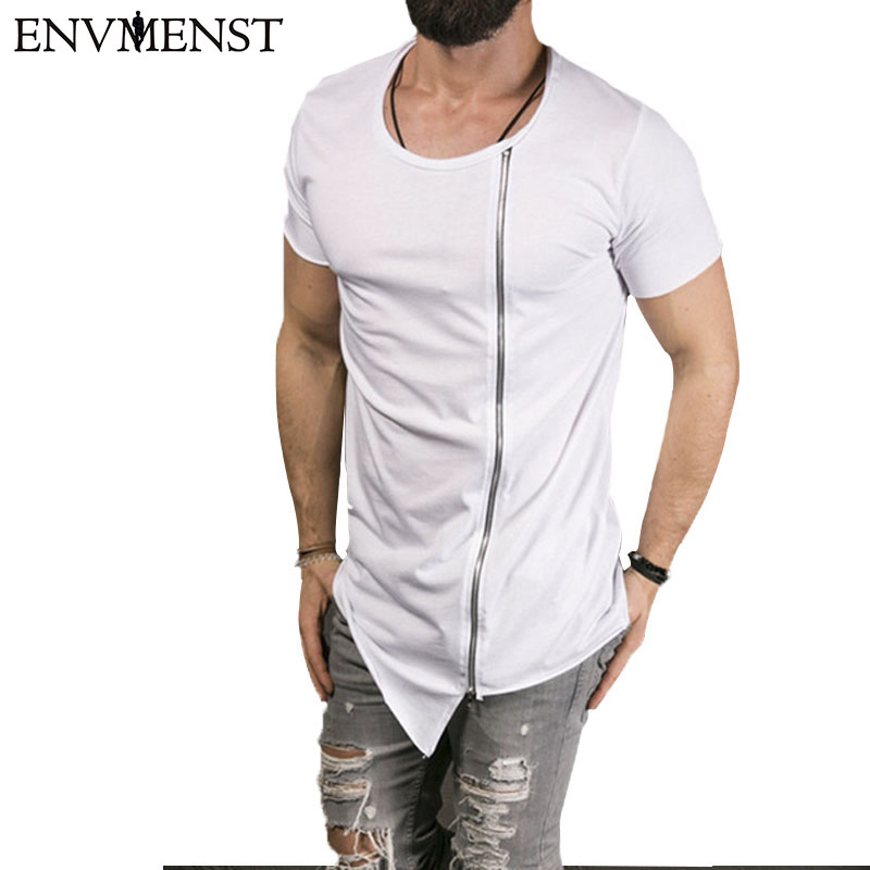 2018 Ny mænds fashion show Stilfuld lang t-shirt Asymmetrisk side - Herretøj - Foto 3