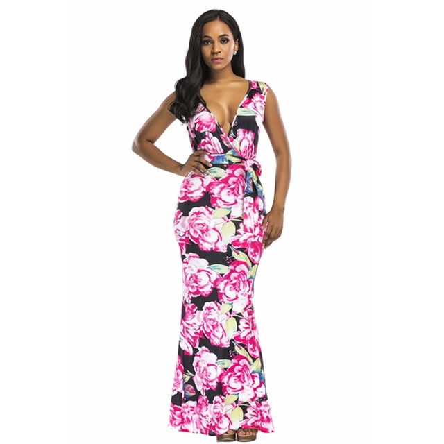 7a6de68af41 Sexy Deep V-Neck Bohemian Printed Summer Maxi Dresses Women Sleeveless High  Waist Party Prom