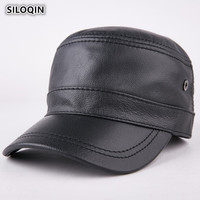 SILOQIN Men's Cap Genuine Leather Brand Cowhide Warm Baseball Caps For Men 2019 Autumn Winter New Style Adjustable Size Army Hat
