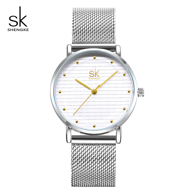 Shengke Women Bracelet Watches Luxury Stainless Steel Ladies Quartz Wristwatch Reloj Mujer 2018 SK Women Watches Christmas Gift