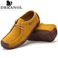 Spring autumn women flat shoes solid slip on cow suede flats character design casual shoes woman driving shoes
