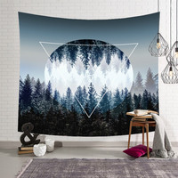 HD Forest Tapestry As if in the Forest Home Decor Tropical Trees 3D Decorative Wall Tapestry Moonlight Decorative House blankets