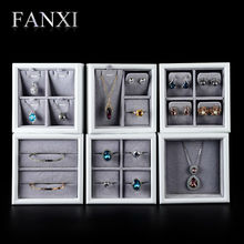FANXI  Silver Grey Jewelry Display Tray Solid Wood Painted Ring Earring Mini Pendant Bracelet Exhibitor Holder Box