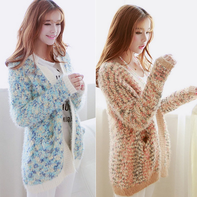 2014 Sale Limited Hand Knitted O-neck Full None Korean Large Code Mohair Sweaters Female Long Sleeved Sweater Coat free Shipping