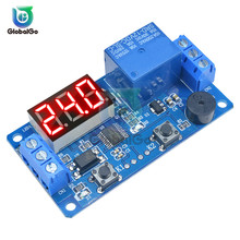 DC12V LED Digital Delay Relay with Buzzer 2 Button Timer Cycle Relay Board Control Switch Trigger Programmable Module for Car digital led display time delay relay module board dc 12v control programmable timer switch trigger cycle module with case