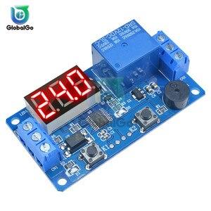 Relé de retardo Digital LED DC12V con zumbador 2 botones temporizador ciclo Placa de Control interruptor disparador módulo programable para coche