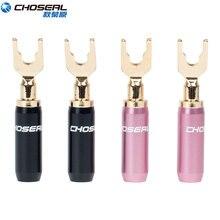 Choseal 24K altın kaplama U/Y konektörü hoparlör tel DIY hoparlör ses muz konnektörleri hoparlör tel ev sineması