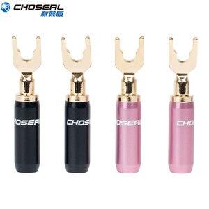 Image 1 - Choseal 24K plaqué or U/Y connecteur pour haut parleur fil bricolage haut parleur Audio banane connecteurs pour haut parleur fil Home cinéma