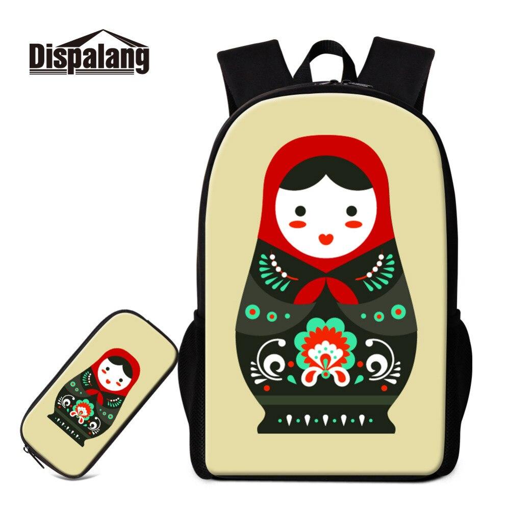 Dispalang 2cs/set femmes sac à dos cartable mignon russie poupée sac d'école pour adolescentes porte-crayon sac à dos sac à dos Moclila