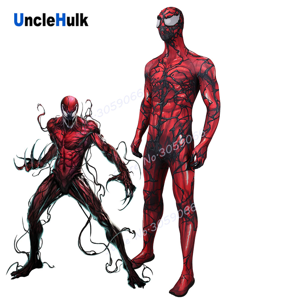 Carnage Cletus Kasady Red Venom Zentai Cosplay Costume Including Lenses Unclehulk