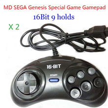 2 個 md セガゲームパッド 16bit セガジェネシスゲームコントローラ 9 穴セガジョイパッド高品質よい価格ゲームアクセサリー