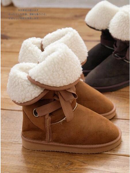 Classic Women Students Winter Boots Suede Big Girls High Female Lace-Up Warm Boots For Lady Fur Botas Black, Beige, Brown ,Camel